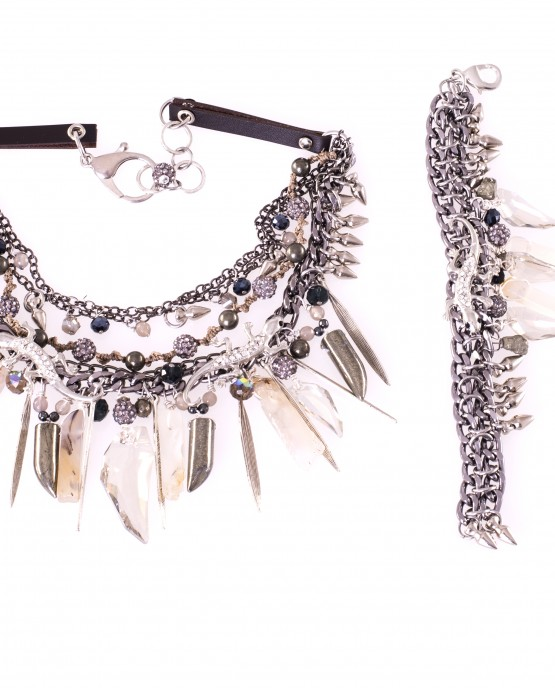 Swarovski and Pyrite Gekko Statement Necklace