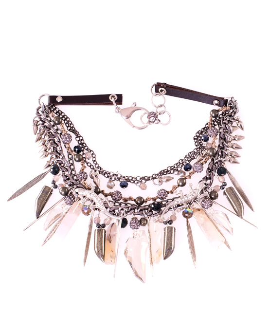 Swarovski and Pyrite Gekko Statement Necklace Caterina Wills Jewellery