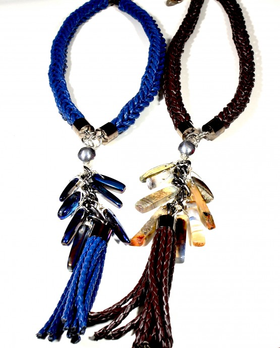 Large Blue Braided Tassel Necklace