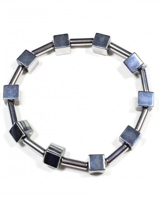 Hematite Cube and Tube Bracelet