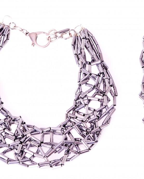 Silver Hematite Tube Statement Necklace