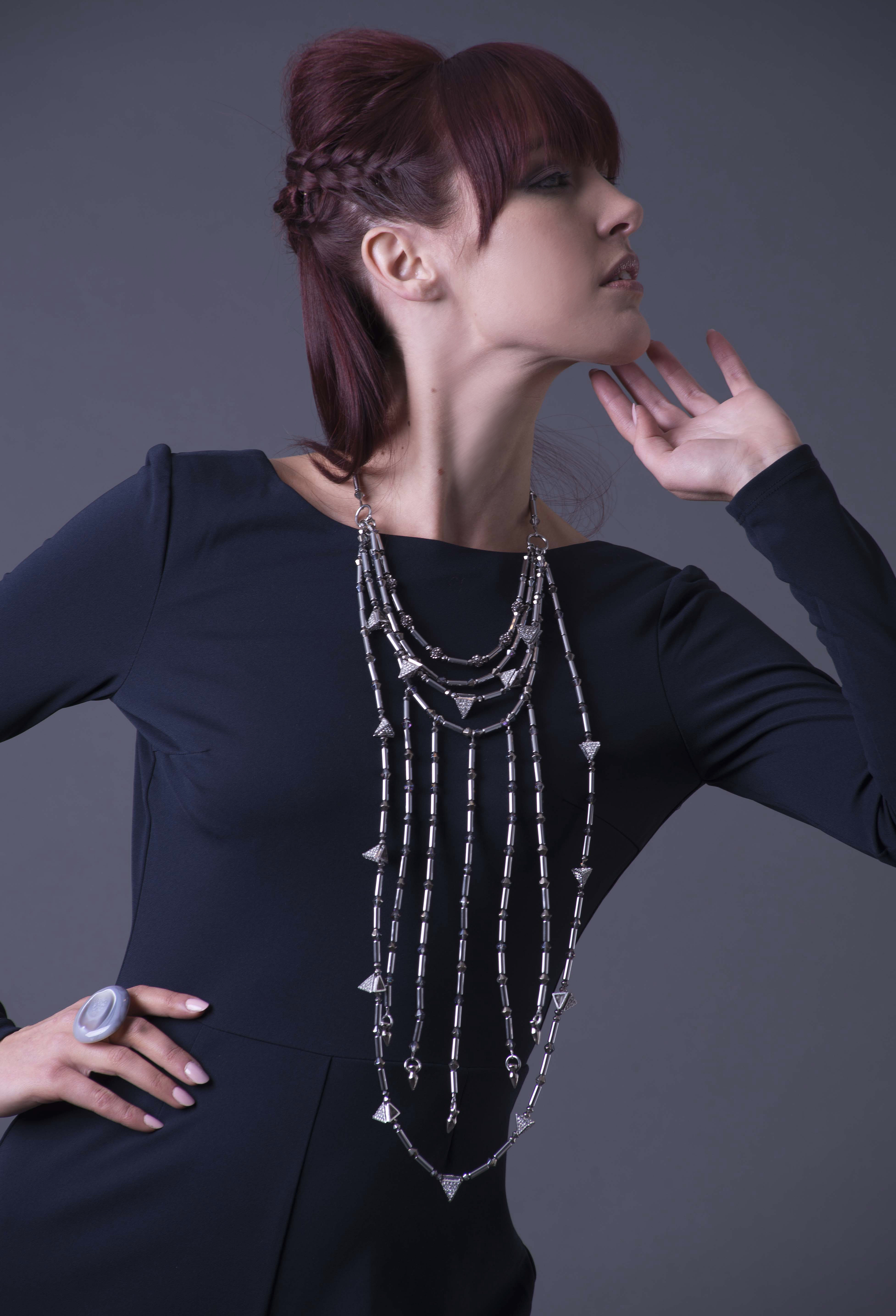 Long Hematite Tube and Pyramid Statement necklace