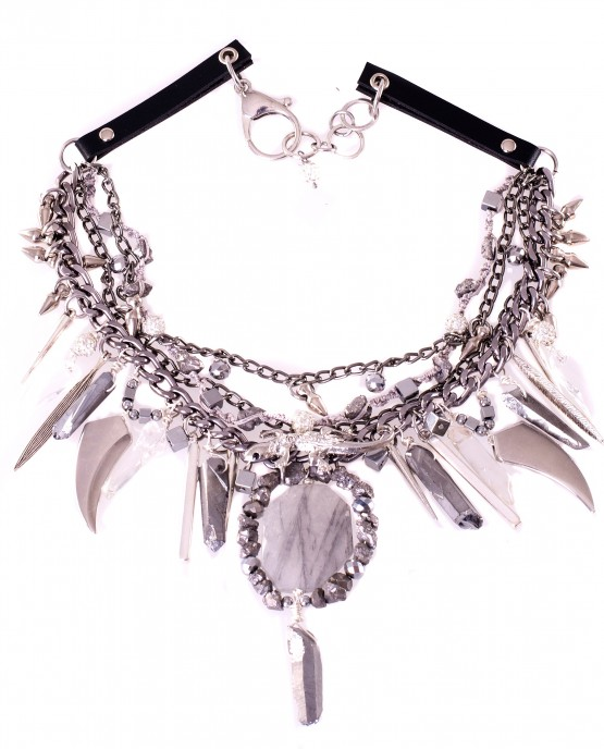 Grey Quartz Statement Gekko Necklace Caterina Wills Jewellery