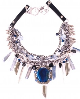 Blue Agate Statement Gekko Necklace