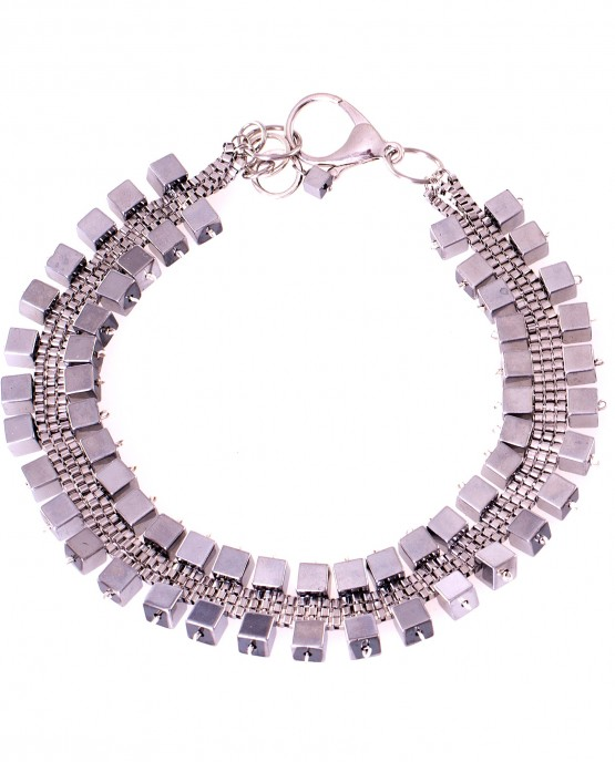 Statement Hematite Cube Necklace Caterina Wills Jewellery