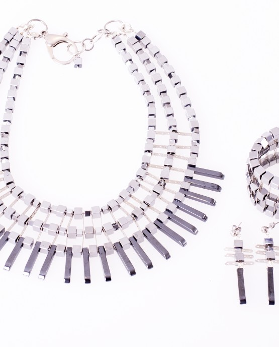Statement Hematite Spike Necklace, Bracelet and Earrings