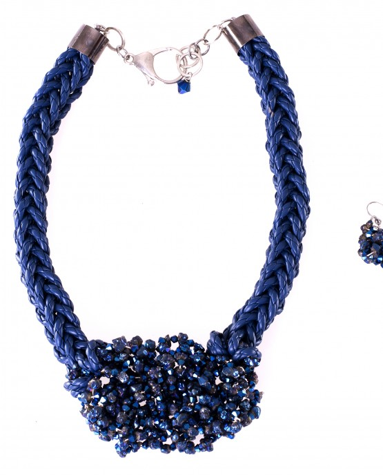 Blue Citrine Nugget Statement Necklace and Earrings