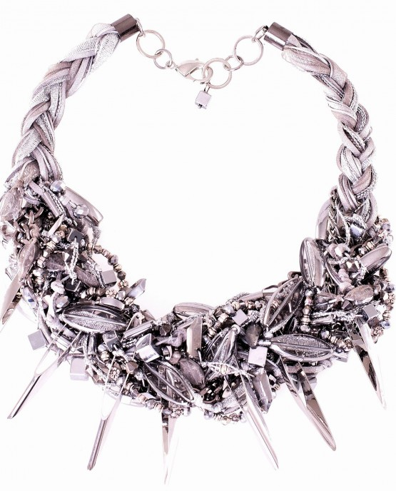 Silver Spike Briaided Necklace