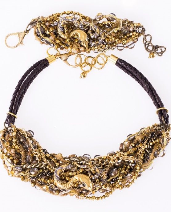 Gold Snake Statement Necklace and Bracelet