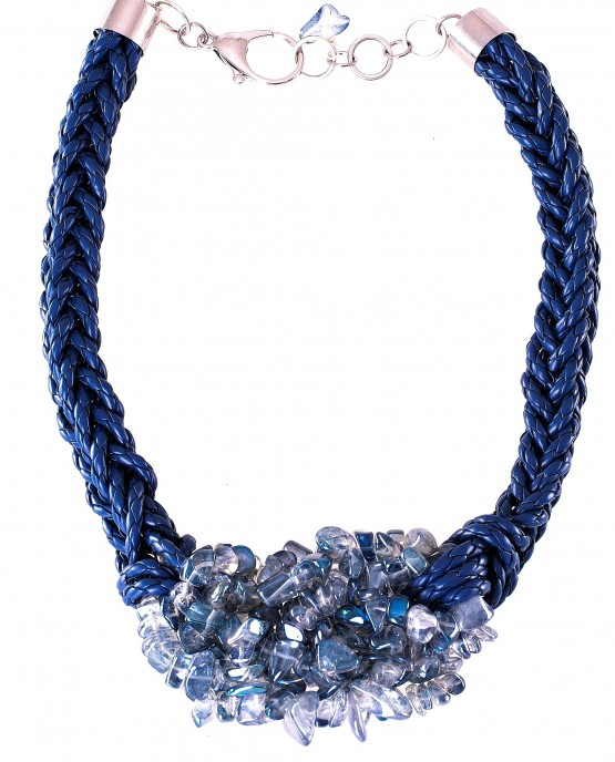 Blue Electroplate Crystal Nugget Necklace Caterina Wills Jewellery