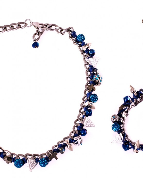 Blue Short Charm Necklace, Bracelet and Earrings