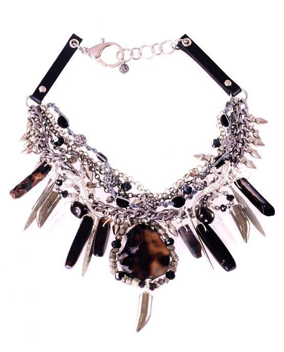 Black Agate Statement Gekko Necklace Caterina Wills Jewellery