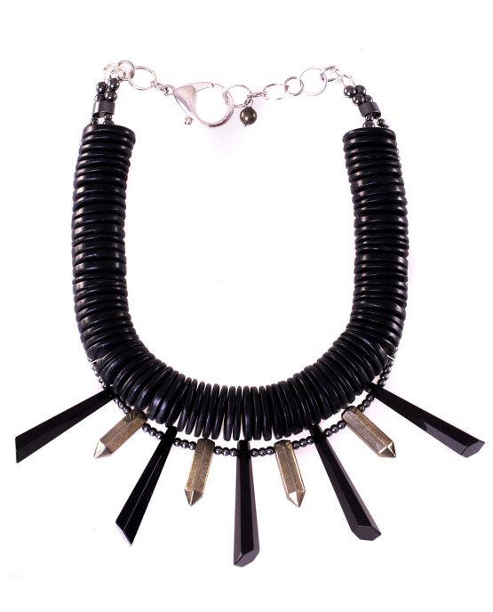 Black Coco Shell Statement Necklace Caterina Wills Jewellery