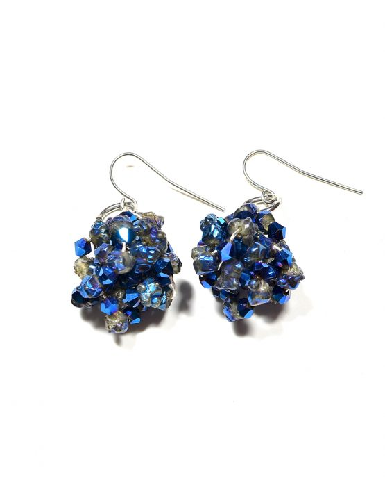 Blue Crystal Nugget Earrings