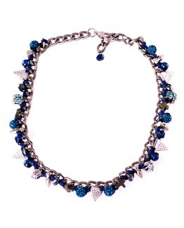 Blue Short Charm Necklace Caterina Wills Jewellery