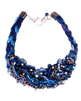 Blue Statement Braided Necklace Caterina Wills Jewellery