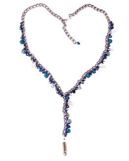 Blue 'Y' Drop Charm Necklace Caterina Wills Jewellery