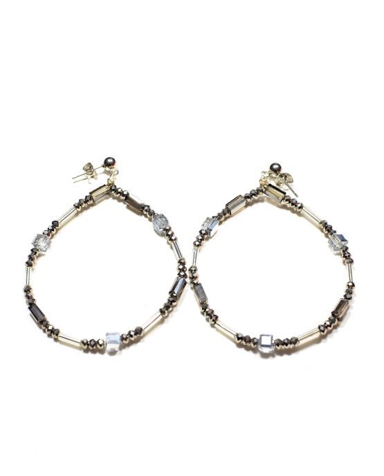 Crystal And Glass Hoop Earrings