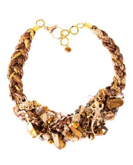 Gold Braided Quartz Statement Quartz Necklace Caterina Wills Jewellery