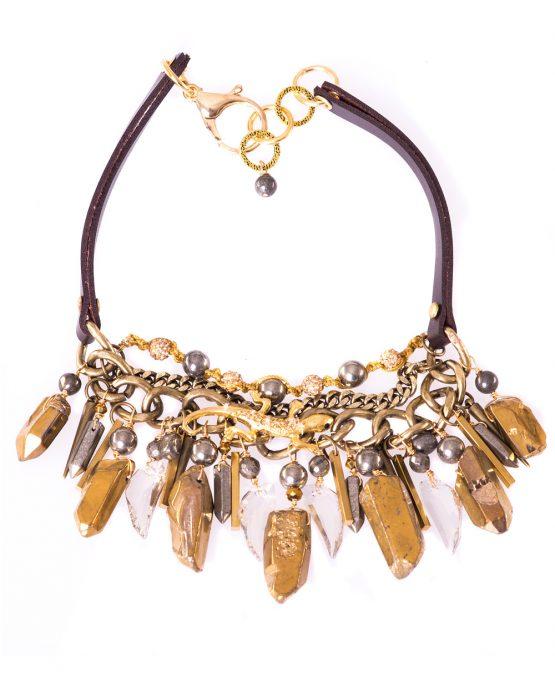 Gold Titanium Quartz Statement Gekko Necklace Caterina Wills Jewellery