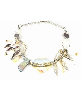 Grey Agate and Swarovski Statement Necklace Caterina Wills Jewellery