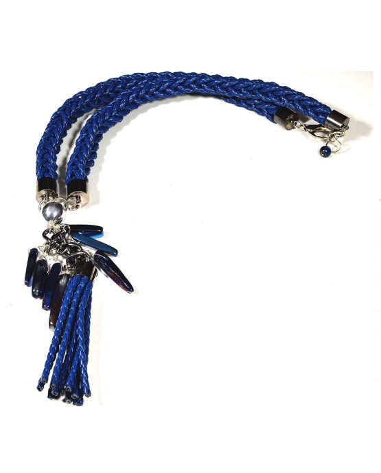 Large Blue Braided Tassel Necklace Caterina Wills Jewellery