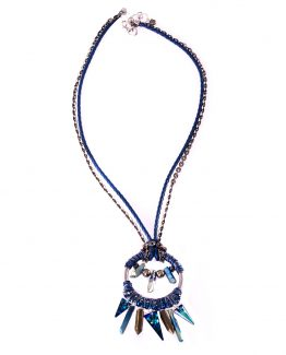 Large Blue Dreamcatcher Crystal Pendant Caterina Wills Jewellery