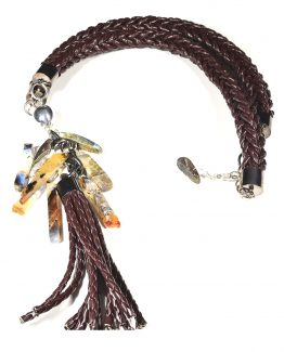 Large Brown Braided Tassel Necklace Caterina Wills Jewellery
