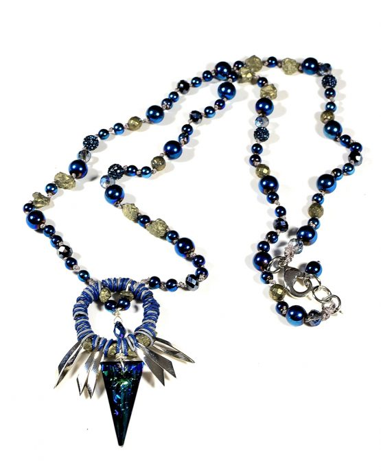 Long Blue Swarovski Crystal and Hematite Necklace Caterina Wills Jewellery