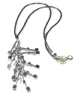 Long Hematite Tube and Cube Necklace Caterina Wills Jewellery