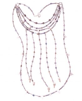 Long Hematite Tube and Pyramid Statement Necklace Caterina Wills Jewellery