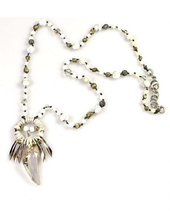Long Swarovski Crystal and Howlite Necklace Caterina Wills Jewellery