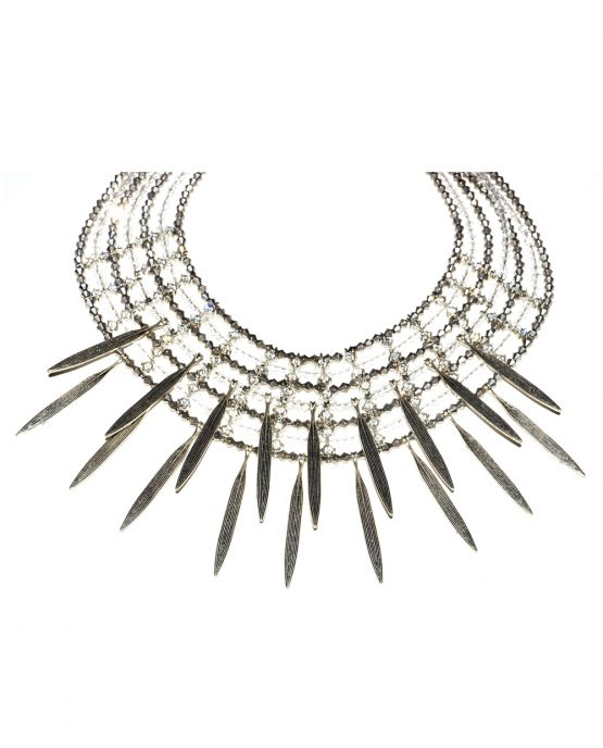 Metal Leaf Drop Statement Necklace Caterina Wills Jewellery