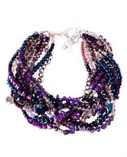 Multistrand Purple Statement Necklace Caterina Wills Jewellery
