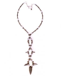 Pyrite arrowhead long statement necklace Caterina Will Jewellery