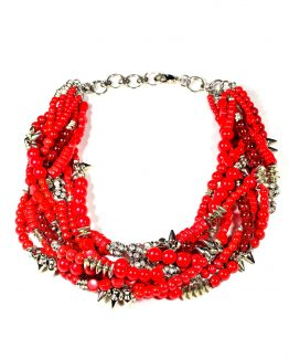 Red Beaded Multistrand Necklace Caterina Wills Jewellery