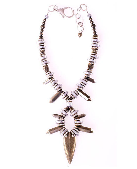 Short Pyrite Arrowhead Statement Necklace Caterina Wills Jewellery