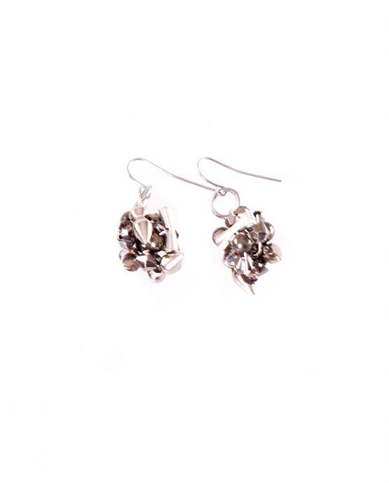 Silver Charm Ball Earring
