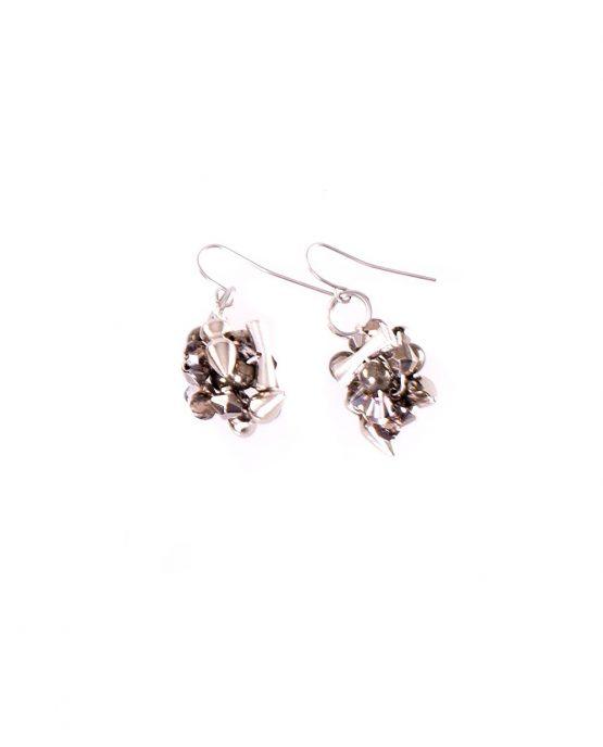 Silver Charm Ball Earring