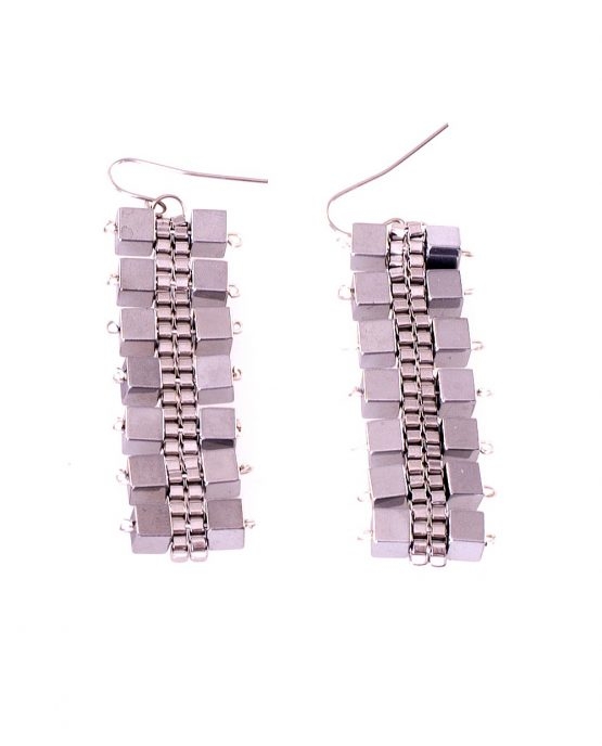 Silver Hematite Cube Earrings