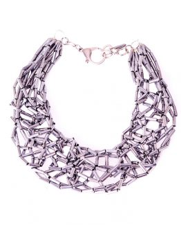 Silver Hematite Tube Statement Necklace Caterina Wills Jewellery