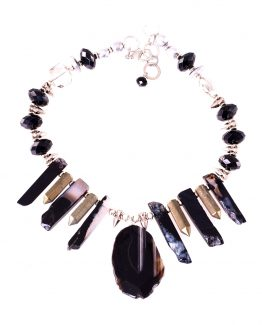 Statement Black Agate Stick Necklace Caterina Wills Jewellery