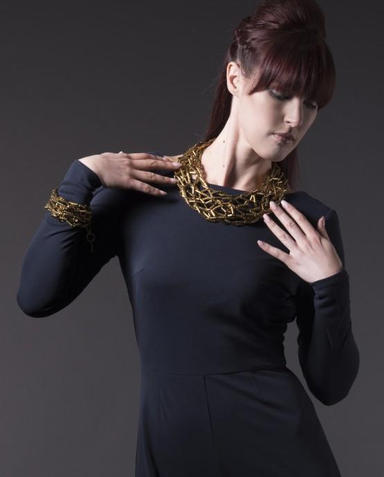 Gold Hematite Tube Bracelet