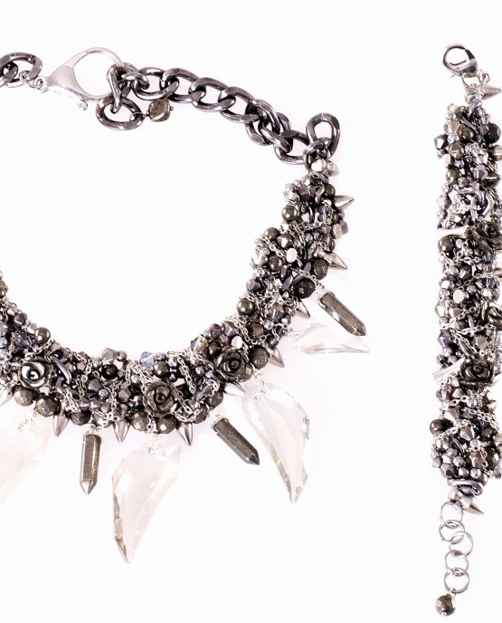 Pyrite Roses and Spikes Bracelet