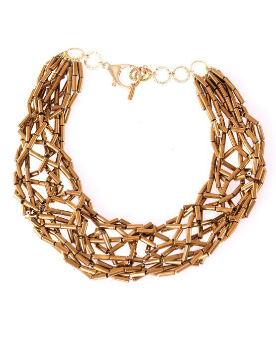 Gold Hematite Tube Statement Necklace