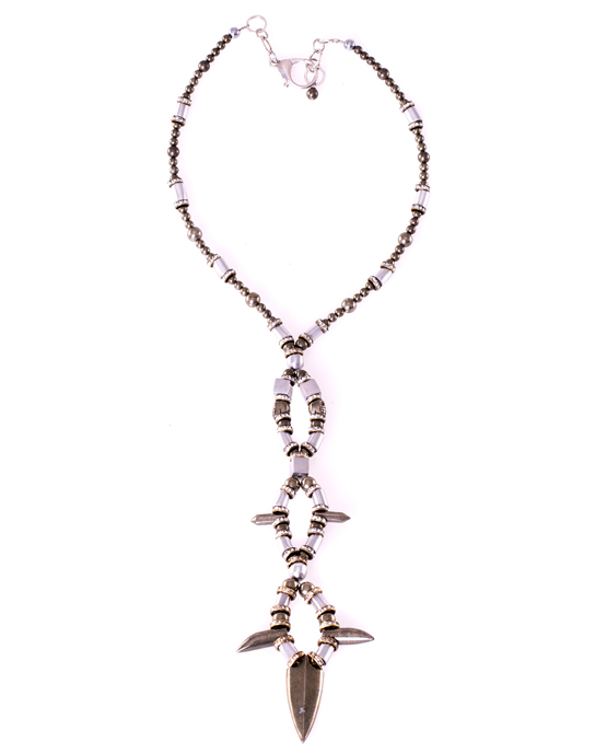Pyrite arrowhead long statement necklace