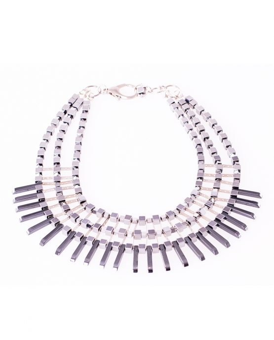 Statement Hematite Spike Necklace