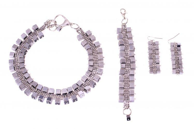 Silver Hematite Cube Set Caterina Wills Jewellery