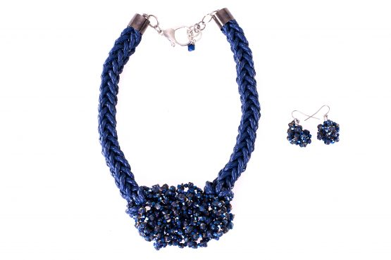 Blue Crystal Nugget Earrings and Necklace Caterina Wills Jewellery