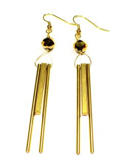 Gold Column Earrings Caterina Wills Jewellery